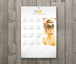 elegant yearly calendar with large image
