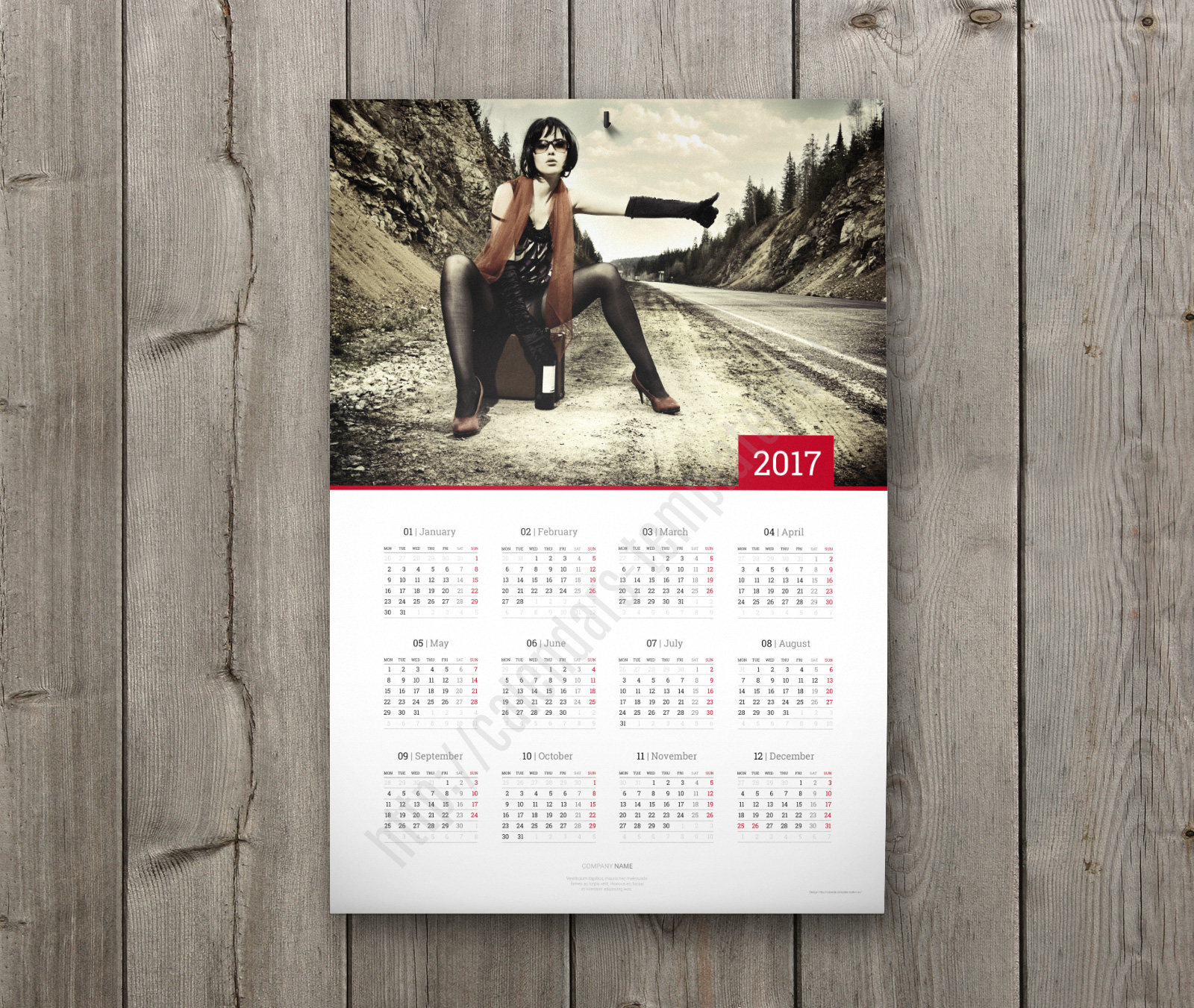 Calendar Poster Template : Wall calendar design for year custom clean modern