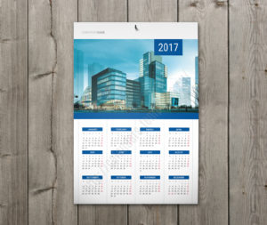 Calendar with holidays wall poster yearly calendar in blue