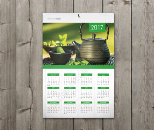 Calendar with holidays wall poster yearly calendar in green