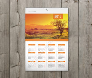 Calendar with holidays wall poster yearly calendar in orange