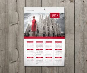 Calendar with holidays wall poster yearly calendar in red