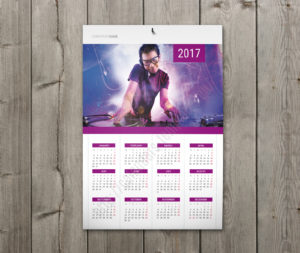 Calendar with holidays wall poster yearly calendar in violet
