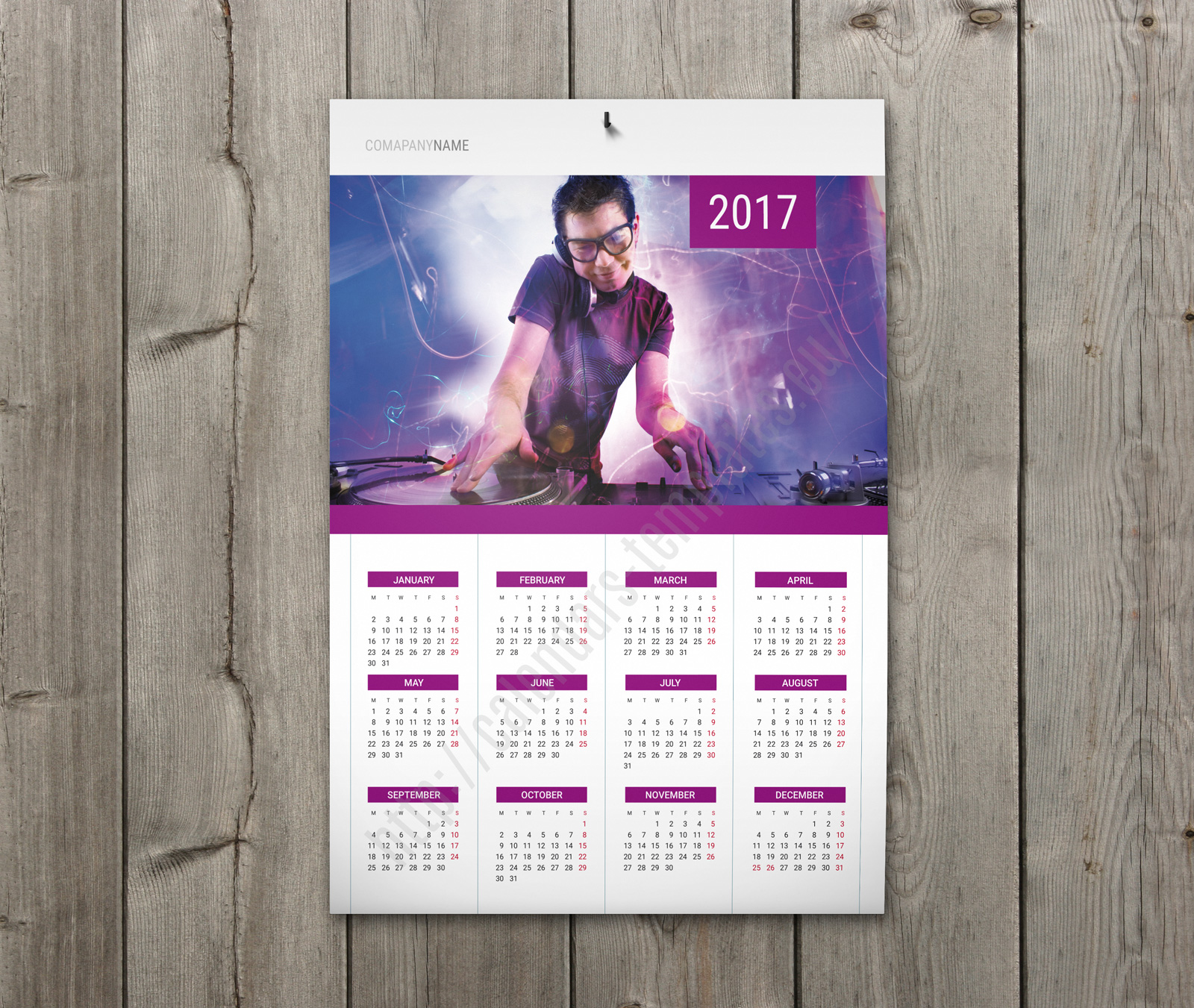 Calendar With Holidays Wall Poster Yearly Calendar In Violet  Calendar Sample Design