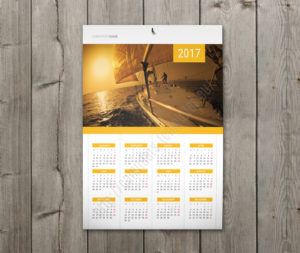 Calendar with holidays wall poster yearly calendar in yellow