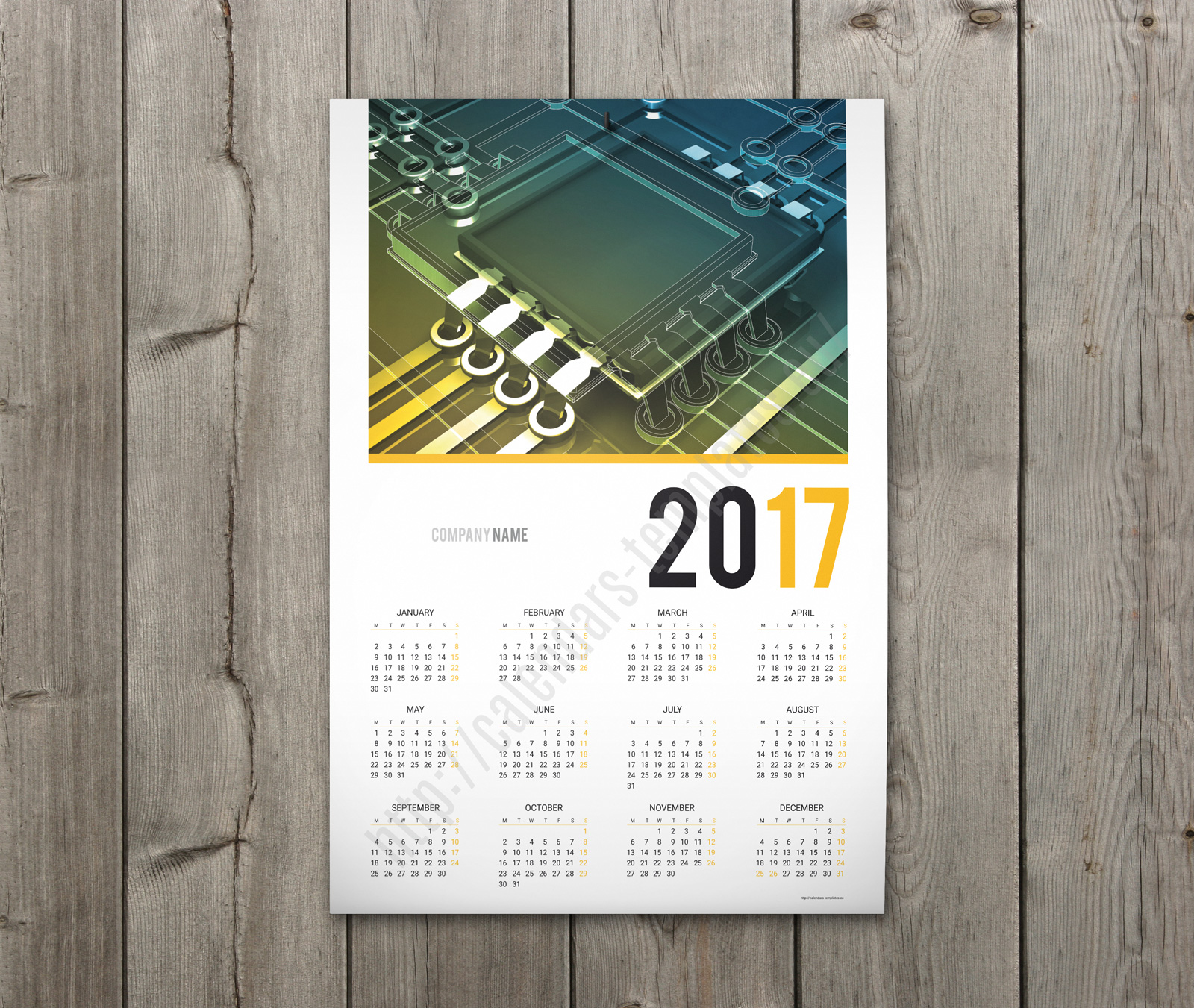 1 color poster design - 2018 Calendar One Page Template Yello Color