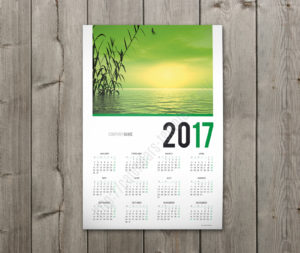 2018 calendar one page green color