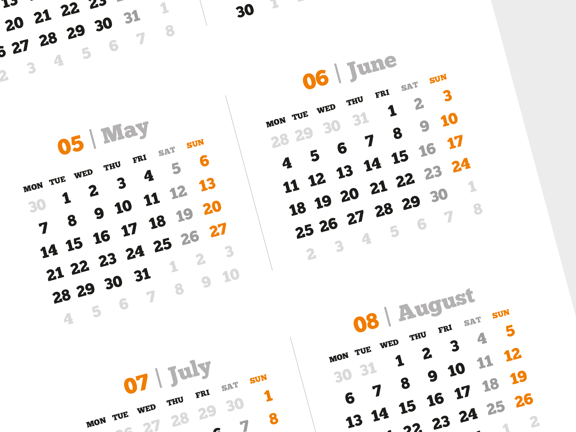 Calendar Poster Template : Yearly calendar template with large image pdf format