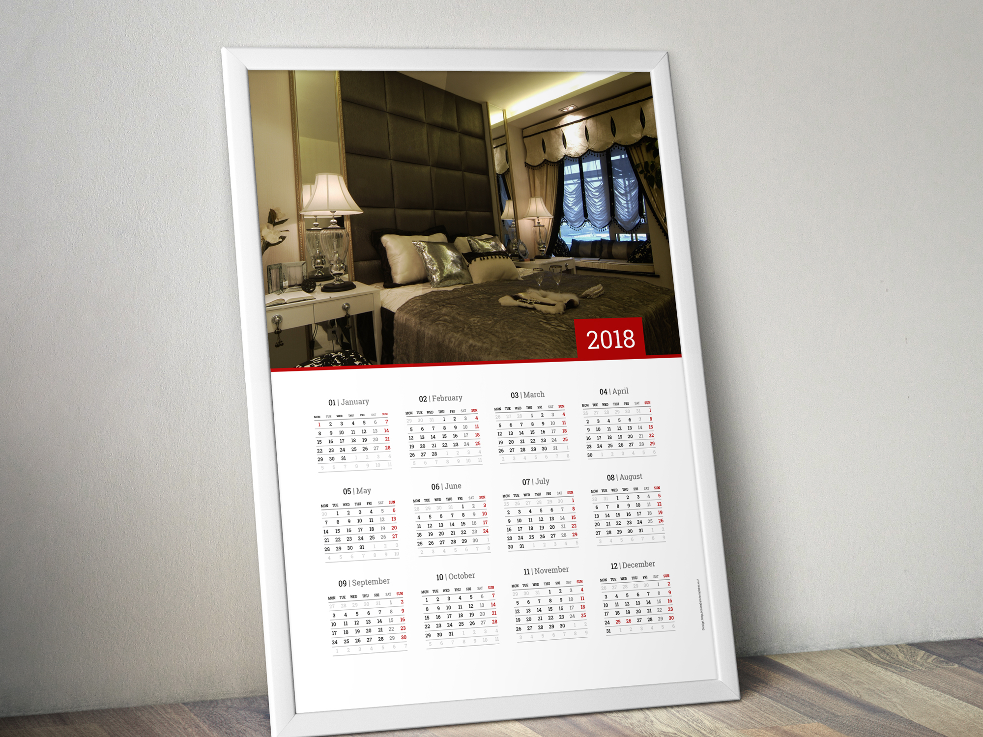 wall calendar design for 2018 year