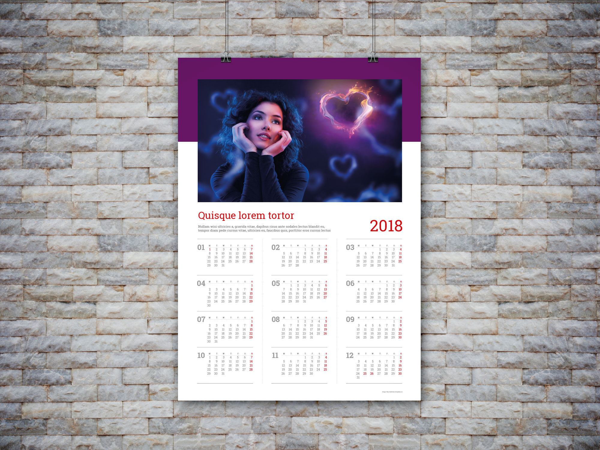 2018 custom wall calendar template yearly calendar