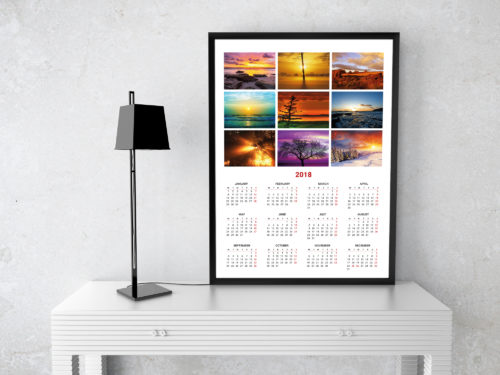2018 photo calendar template, printable poster wall calendar