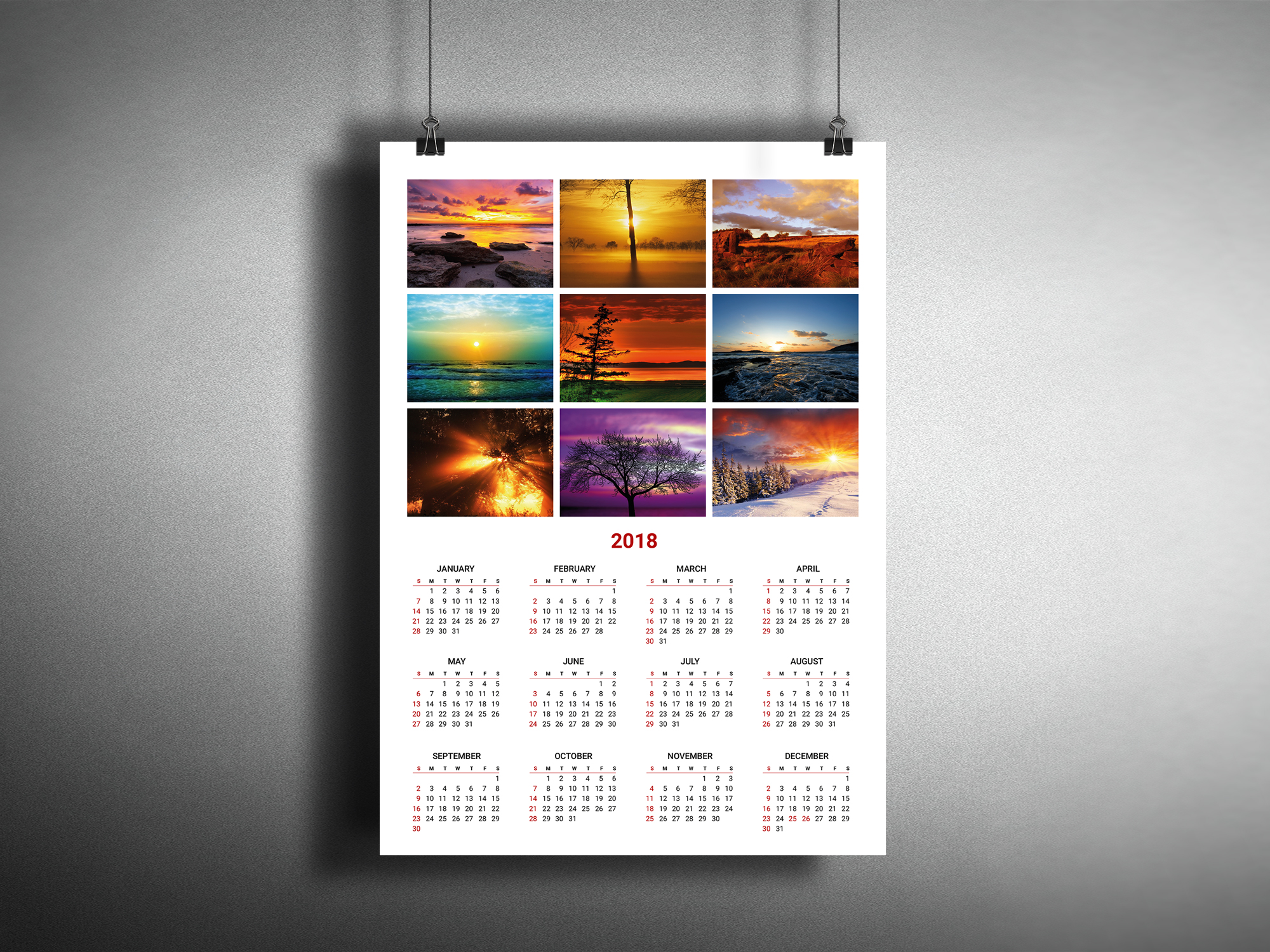 Calendar Poster Template : Photo calendar template for year printable wall