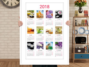 Printable wall calendar template for 2018 year, clean and moder design