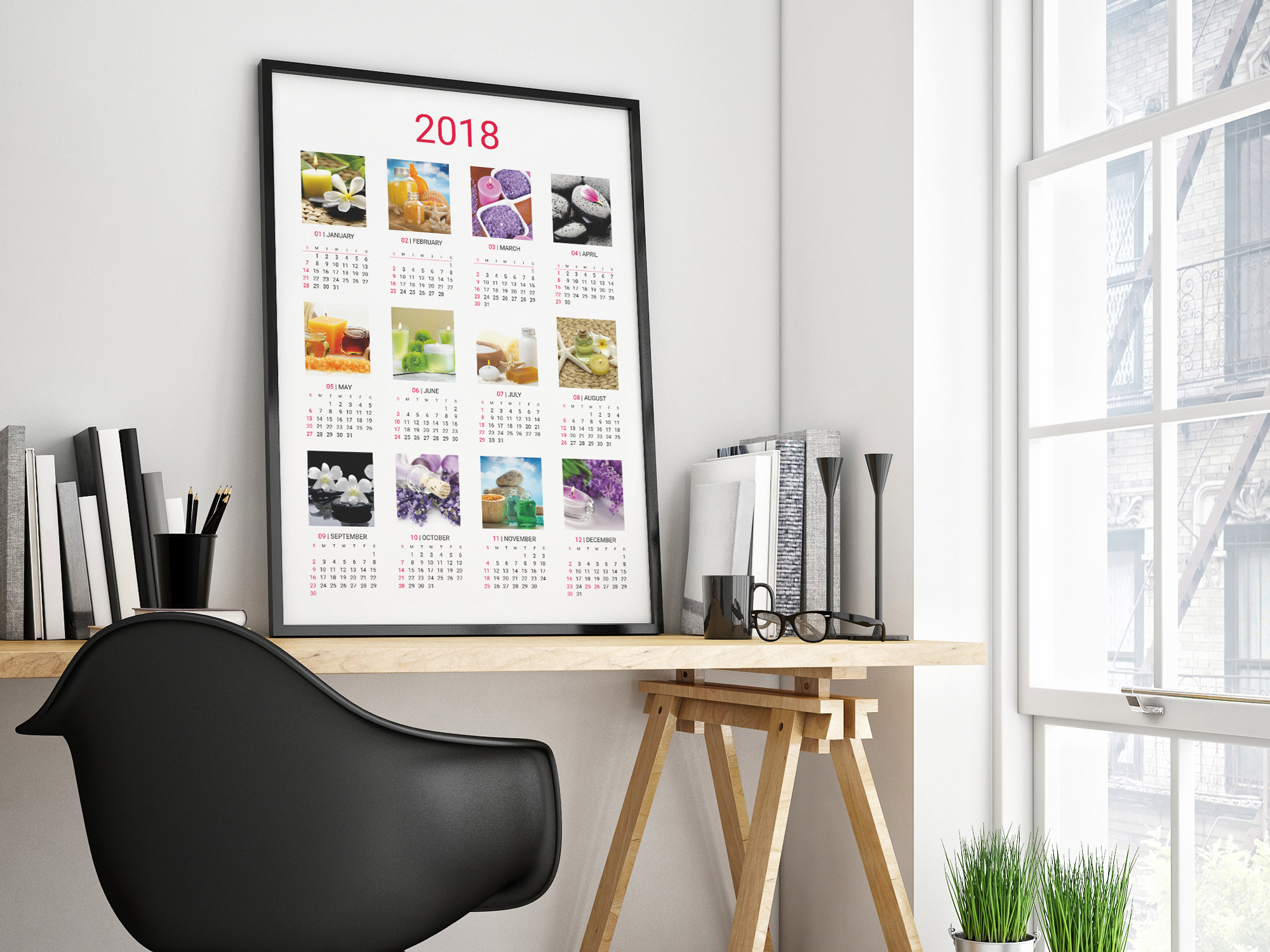 Printable wall calendar template for 2018 year