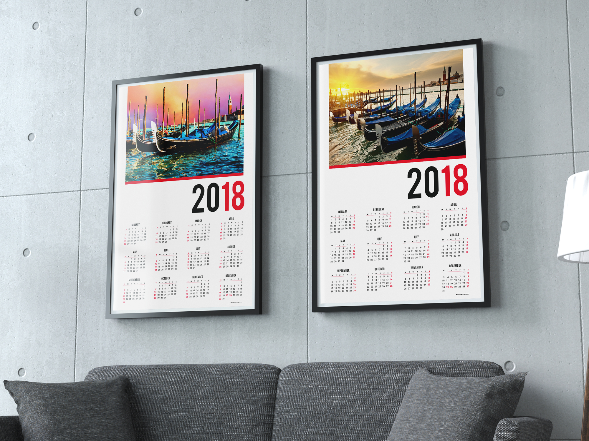 2018 calendar one page wall poster template