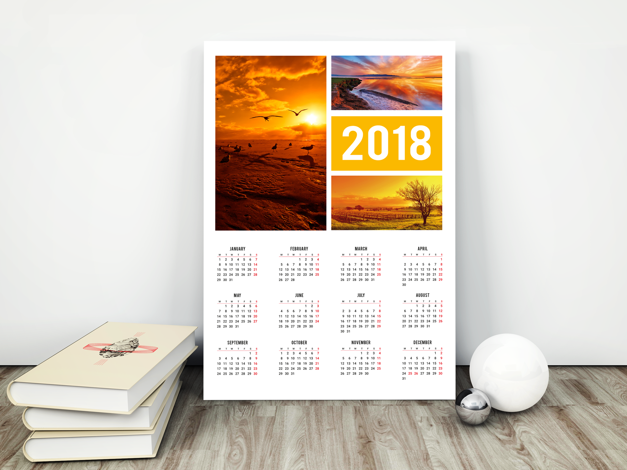 2018 Digital Calendar Template Download This Poster Wall