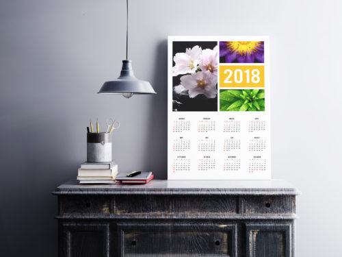 2018 digital calendar template. Printable poster calendar