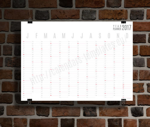 modern clean 2017 Yearly wall planner template