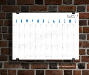 Horizontal wall planner - blue color