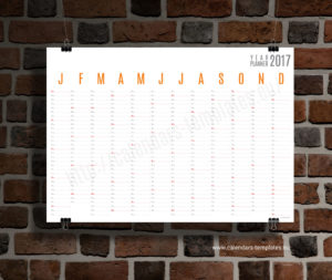 Horizontal wall planner - orange color