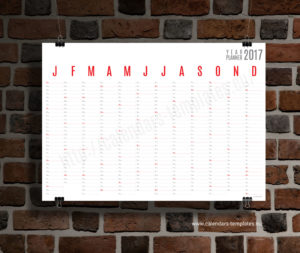 Horizontal wall planner - red color