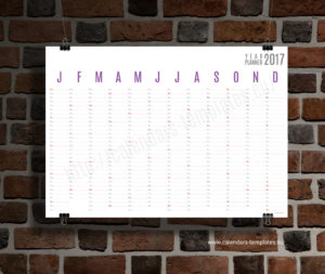 Horizontal wall planner - violet color