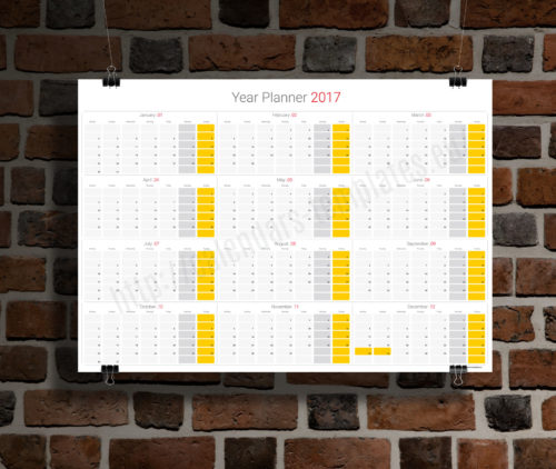 modern clean big wall year planner template calendar 2017 KP-W11 yellow