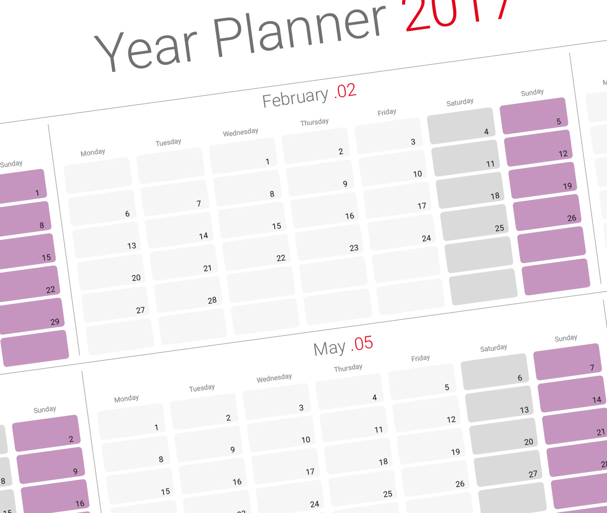 2019 Yearly Planner Template Modern Design Printable Pdf