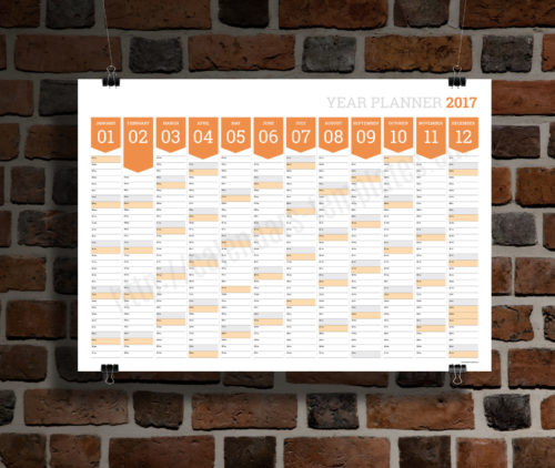 modern clean big wall year planner template calendar 2017 KP-W12 orange