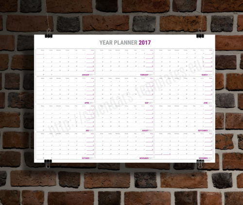 Big Yearly wall planner template calendar