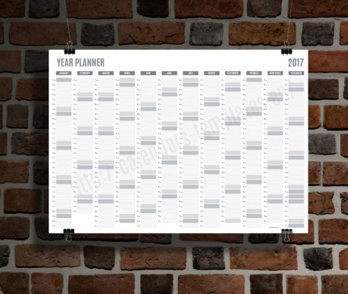 2017 Yearly wall planner template grey