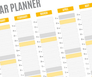year planner template - yellow
