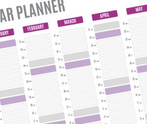 year planner template - violet