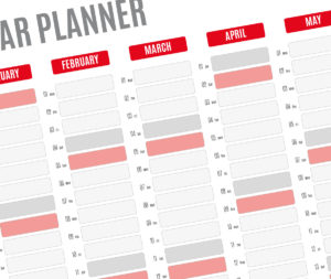 year planner template - red