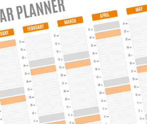 year planner template - orange