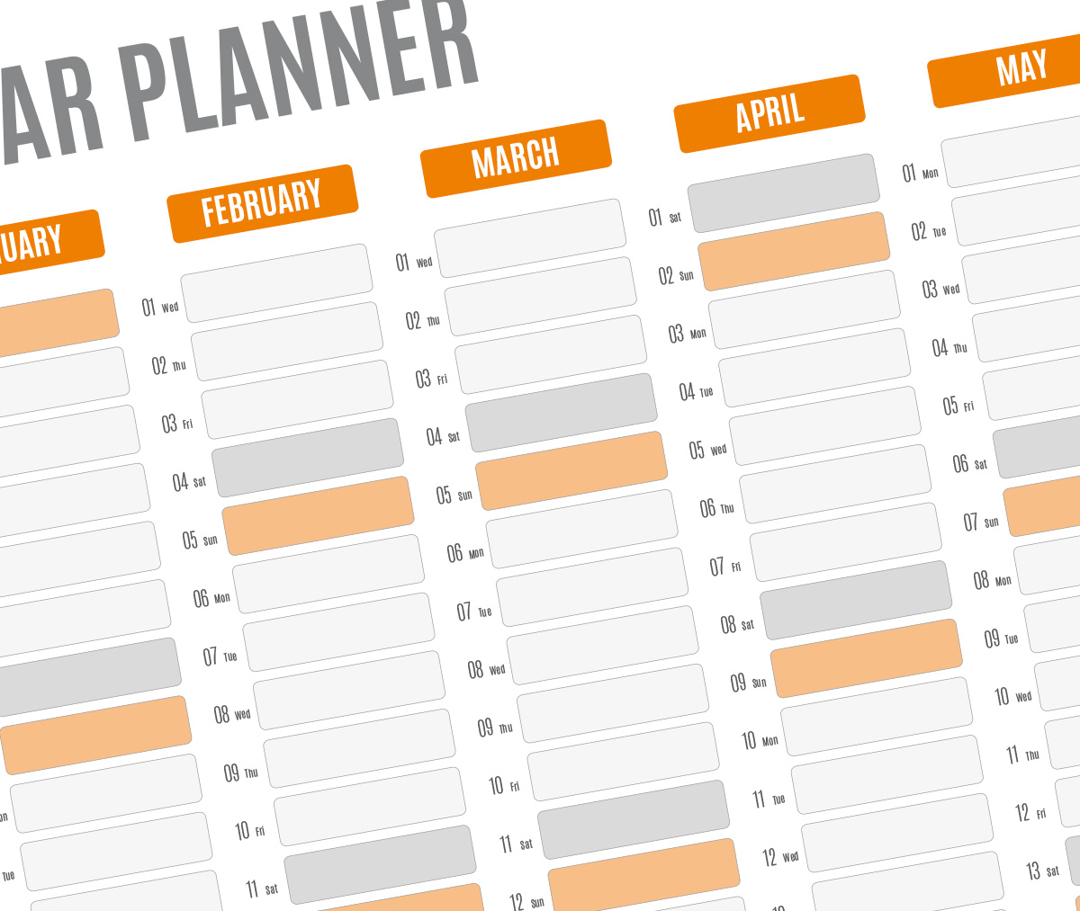 Year Planner Template Printable PDF Wall Agenda - Yearly planner template