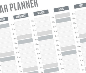 year planner template - grey