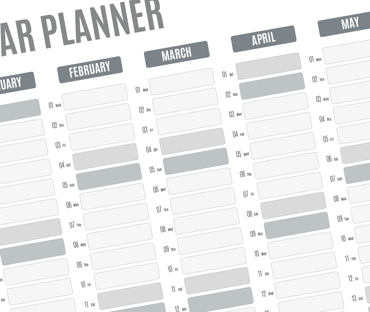 Best year planner template 2018 printable pdf wall agenda for 15 month calendar template