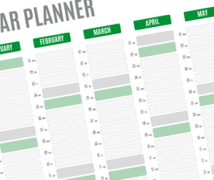 year planner template - green