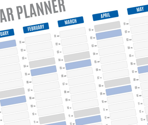 2017 Yearly wall planner template