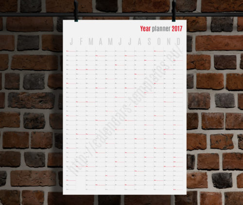 modern vertical big wall year planner template calendar 2017 KP-W1