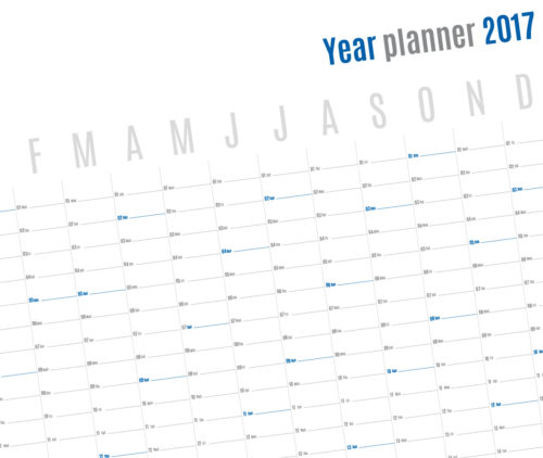 2017 Yearly wall planner template vertical