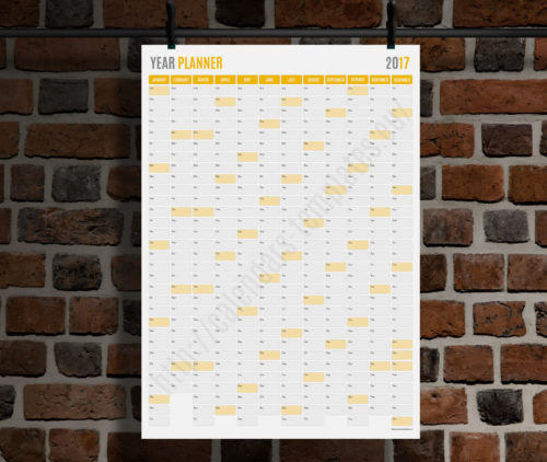 modern vertical big wall year planner template calendar 2017 KP-W19