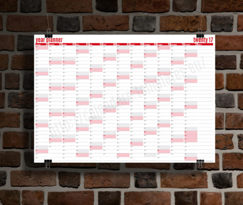 modern clean big wall yearly planner template calendar 2017 KP-W2 red