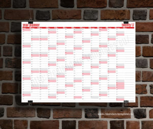 year planner 2018 template - red