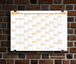 year planner 2018 template - orange