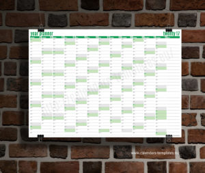 year planner 2018 template - green