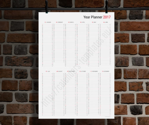 modern vertical big wall year planner template calendar 2017 KP-W21