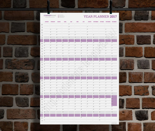 modern vertical big wall year planner template calendar 2017 KP-W3