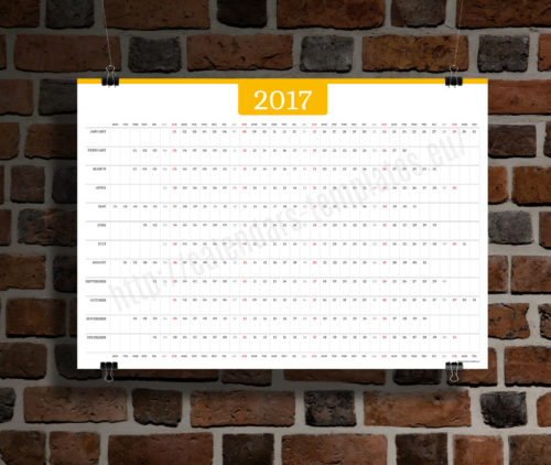 big wall year planner template calendar 2017 KP-W6 yellow